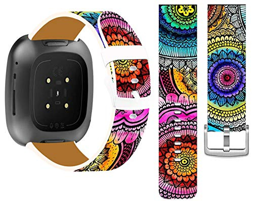 Bands Compatible for Fitbit Versa & Cisland Leather Strap Replacement Compatible with Fitbit Versa/Versa 2/Versa Lite/SE Small/Large + Beautiful Colorful Mandala Flower Art Design