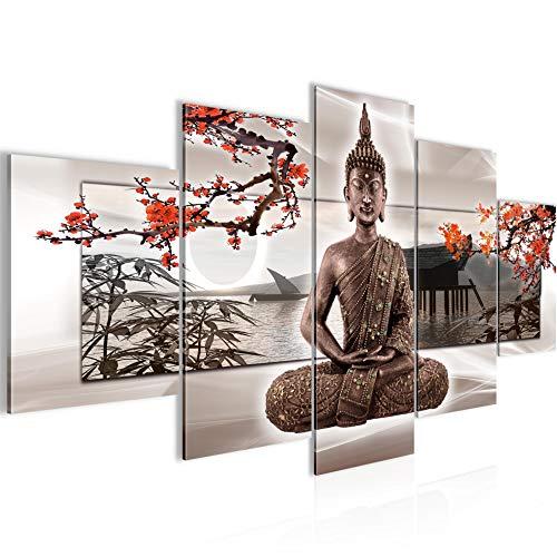 Bilder Buddha Feng Shui Wandbild Vlies - Leinwand Bild XXL Format Wandbilder Wohnzimmer Wohnung Deko Kunstdrucke Rot 5 Teilig - MADE IN GERMANY - Fertig zum Aufhängen 503253c