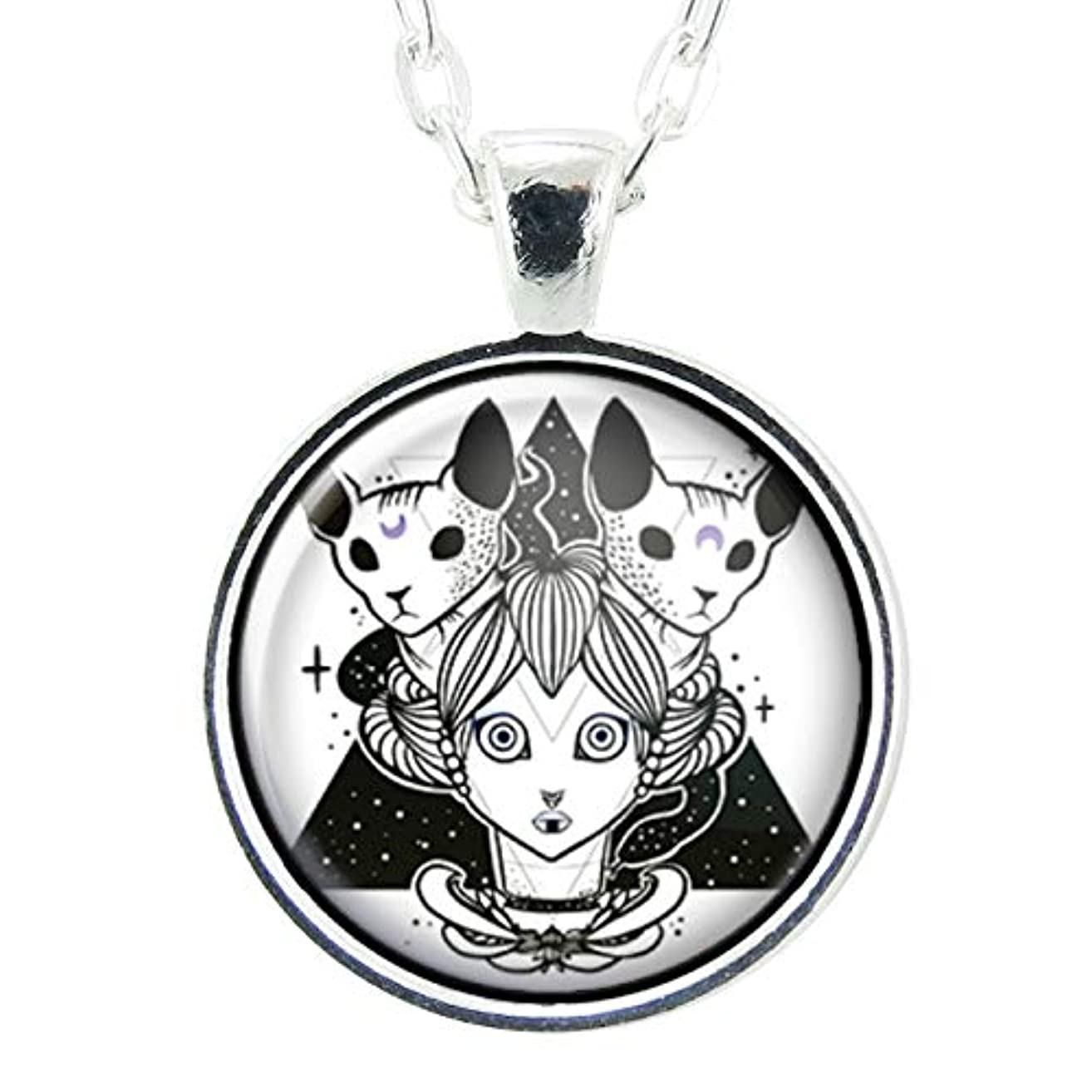 Witch And Sphynx Cat Artwork, Handmade Art Pendant, 1 Inch Charm On 24 Inch Necklace Chain