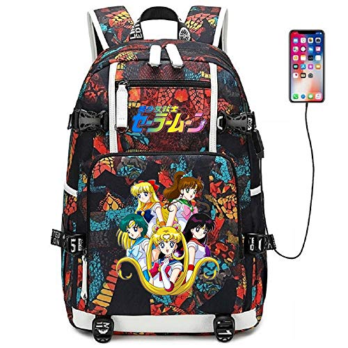 Siawasey Anime Sailor Moon Cosplay Rucksack Daypack Bookbag Laptop Schultasche mit USB-Ladeanschluss