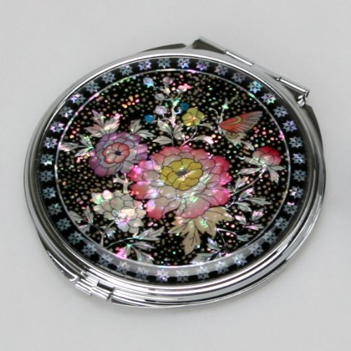 Mother of Pearl Double Compact Cosmetic Makeup Pink Flower Pocket Purse Hand Mirror with Peony and Butterfly Design by Antique Alive