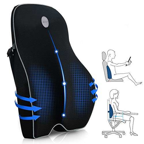 Amconsure Lumbar Support Pillow for Office Chair,Memory Foam Back Cushion for Back Pain Relief -Large Ergonomic Back Pillow for Car Seat/Wheelchair/Recliner with 3D Mesh Cover & Adjustable Straps