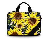11 11.6 12 12.5 13 inches Case Canvas Laptop/Chromebook/Ultrabook/MacBook pro air Notebook PC Messenger Bag Tablet Travel Case Neoprene Handle Sleeve with Shoulder (Sunflower)