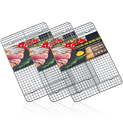 Estmoon Cooling Rack Stainless Steel, Cooling Racks for Baking, 16.5 Inch Cooling Rack Oven Safe,Heavy Duty Wire Rack Set of 3 for Cookies,Cooking,Roasting,Grilling,Drying,Dishwasher Safe