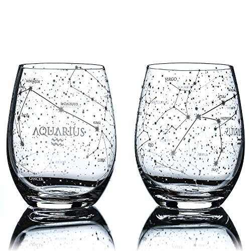 Greenline Goods Wassermann Stemless Weingläser |Sternzeichen Wassermann Set |Handgeätzte 15 Unzen (2er-Set) - Astrologie Zeichen Glaswaren