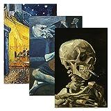 3er Pack Vincent Van Gogh Skelett + Cafe Terrasse bei Nacht