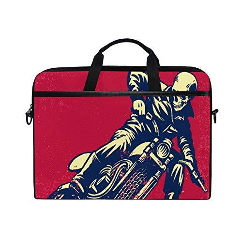 LZXO Laptoptasche 38,1 cm Aktentasche Vintage Totenkopf Bikecycle Muster Laptop Schultertasche Kuriertasche Tragetasche Handtasche Schule Computer Tasche mit Gurt für Männer Frauen Schule