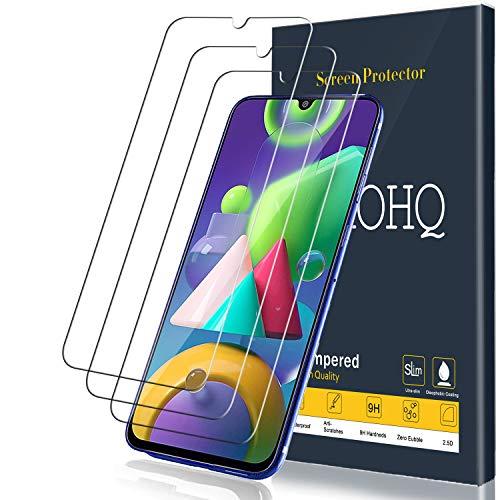 QHOHQ Protector de Pantalla Compatible para Samsung Galaxy M31 y M21 y M30S y A30S, [3 Unidades], Cristal Templado con [9H Dureza] [Sin Burbujas] [Anti-Huella] [Anti-Arañazos]