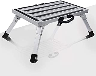 VI-CO Portable RV Folding Step Stool One Step Ladder, Aluminum Platform One Step with Non-Slip Rubber Feet, Anti-Slip Surface and Extra Grip, 1000lbs Capacity