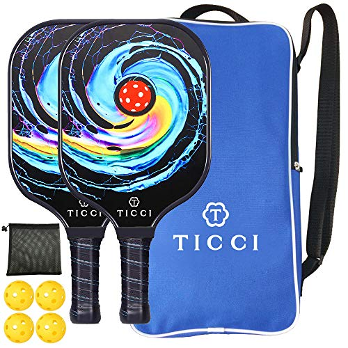 TICCI Pickleball Paddle Set 2 Premium USAPA Approved Graphite Craft Rackets Honeycomb Core 4 Balls Ultra Cushion Grip Portable Racquet Case Bag Gift Kit Men Women Indoor Outdoor (Gorgeous Kit)
