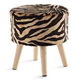 Cheer Collection Tiger Stripe Ottoman and Footstool 13' Round Decorative Faux Fur Stool with Wooden Legs