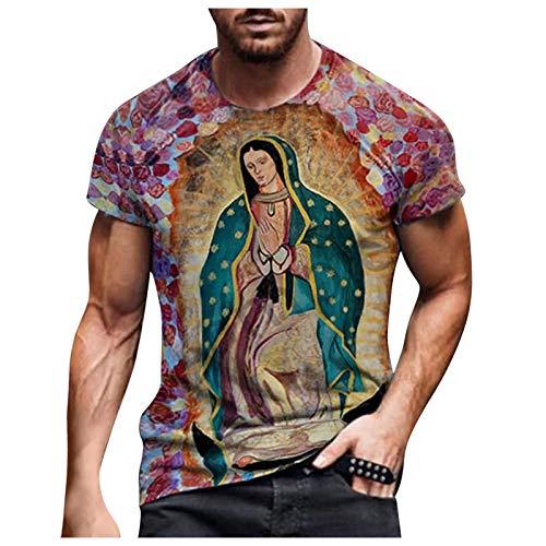 Men's 3D Printed T-Shirt,Casual O Neck Regular Fit Short Sleeve Sweatshirt Top Blouse