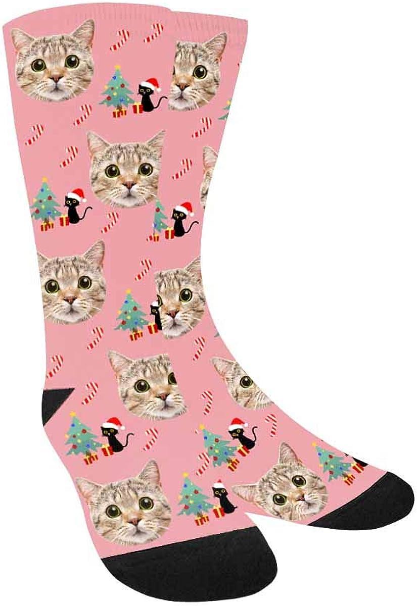 Custom Photo Socks Black Cat and Christmas Tree Crew Socks for G