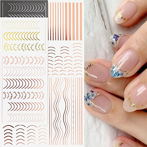 Line Nail Art Stickers Decals Nail Supply ,Rose Gold 3D Self-Adhesive Metal Curve Stripe Lines Design DIY Letter Nail Sticker Adhesive Decoration Foil Accessory 6 Sheet.