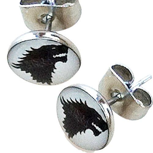 Ohrstecker Game of Thrones Stark Wolf, 8mm, Edelstahl, Schwarz und Weiß