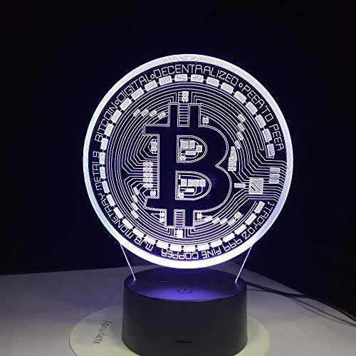 Led-Lampe 3D Bitcoin Zeichen Modelliert Nachtlichter 7 Farben Usb Münzlampe Lampe Baby Schlafzimmer Beleuchtung Zubehör Dekoration Geschenke Mit Fernbedienung