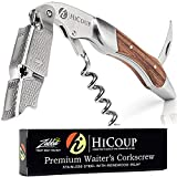Waiters Corkscrew by HiCoup - Professional Stainless Steel with Rosewood Inlay All-in-one Corkscrew, Bottle Opener and Foil Cutter, The Favoured Wine Opener of Sommeliers, Waiters and Bartenders
