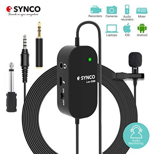 Microfono Solapa con Monitoreo de Audio, Synco Lav-S6M Microfono Lavalier Condensador Omnidireccional 6M, Compatible para Cámaras, Móviles, Videocámaras, Grabadoras Audio, Mezcladores, Computadoras