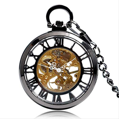 KUANDARGG Reloj de bolsillo moderno de cuerda manual reloj de bolsillo con colgante Steampunk caja negra reloj mecánico hombres mujeres cadena cumpleaños regalo de Navidad negro