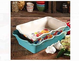 The Pioneer Woman Flea Market 2-Piece Decorated Rectangular Ruffle Top Ceramic Bakeware Set (Pack of 2)
