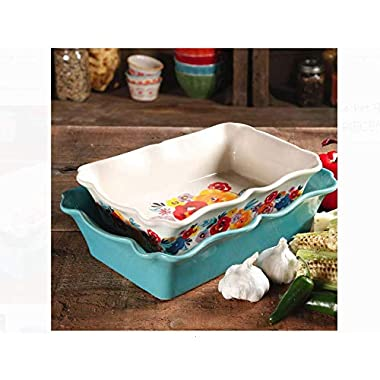 The Pioneer Woman Flea Market 2-Piece Decorated Rectangular Ruffle Top Ceramic Bakeware Set (Pack of 2)