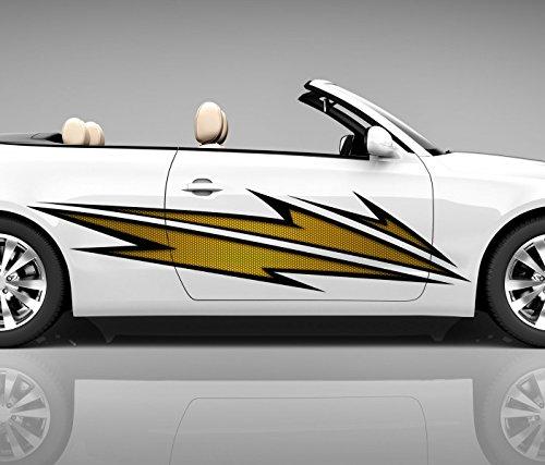 2x Seitendekor 3D Autoaufkleber Blitze gelb Digitaldruck Seite Auto Tuning bunt Aufkleber Seitenstreifen Airbrush Racing Autofolie Car Wrapping Tribal Seitentribal CW150, Größe Seiten LxB:ca. 220x50cm
