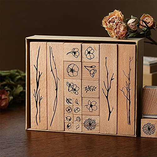 Vegena 20 Stück Natürliche Pflanze Boxed Seal Set, Hölzern Stempel Set Holzstempel zum Basteln,Stempel aus Holz Natürlicher Blumen Motive, für die Herstellung von Karten,Kunsthandwerk, Geschenken