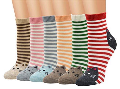 5-6 Pares Calcetines de Algodón para Mujeres Colores Mezclados Animales de Dibujos Gato Patrón Calcetines Calcetines Calientes de Divertidos Ocasionales Invierno Grueso de la EU 35-38 (6 pares-6109)