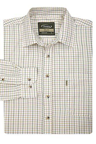 """Walker and Hawkes - Camicia da uomo, in cotone, a quadretti, maniche lunghe, per la campagna, facile da lavare verde L(42"""")"""
