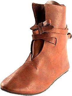 Botines Mujer Tacón Planos PU Cuero Botas Lace-up Cabeza Redonda Botas de Invierno Medieval Renacentista Botas de Caballer...