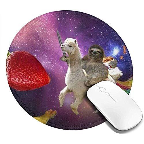 Antislip ronde rubberen muismat - bedrukken van de gaming-muismat met Sloth Riding Lama voor computerlaptops