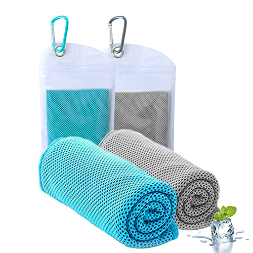 """ICECUUL Towel for Hot Weather 2 Packs (44""""x15"""") Microfiber Towel,Mesh Soft Breathable Cooling Towel for Face and Neck,Vacation,Athletes,Yoga,Sports,Gym,Workout,Camping,Fitness,Running,Golf (110x38cm)"""