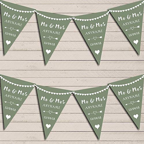 Heart Mr & Mrs Sage Green Wedding Day Married Bunting Party Venue Decoration Party Flag Banner Garland