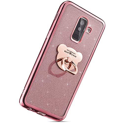 Herbests Kompatibel mit Samsung Galaxy J8 2018 Handyhülle, [Handy Ring Ständer] Glitzer Glänzende TPU Silikon Hülle Handyhülle Crystal Durchsichtig Klar Schutzhülle Ultradünn Cover,Rose Gold