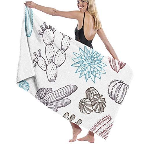 Rterss grote badhanddoeken badhanddoek set zachte zeer absorberende unisex geschikt voor badkamer zwembad strand kleurrijke cactus cactus met doornen aangepast