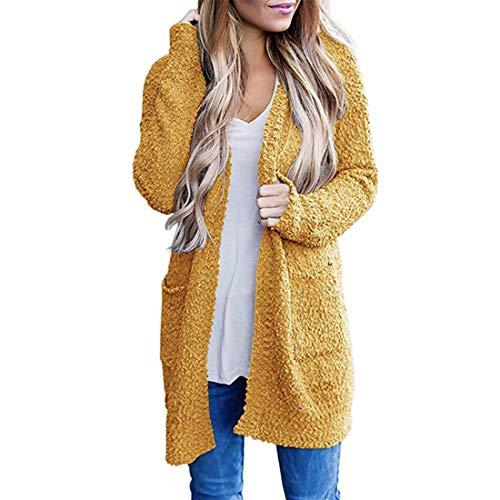 BEIXUNDIANZI Cardigan Women Fashion Temperament Cardigan Plush Jacket Sweat Jacket Cardigan Long Sleeves Fleece Jacket Casual Open Front Sweater Knitted Outerwear L