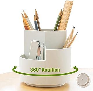 NBEST™ 360 degree rotating multi-functional pen holder, 3 separate layer desktop stationery storage bags, desk organiser, ...