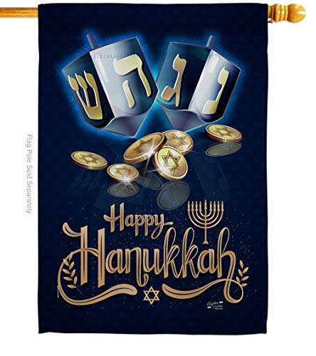 Angeleno Heritage Happy Hanukkah House Flag Candle Bonsai Menorah Jewish Chanukah David Small Decorative Gift Yard Banner Double-Sided Made in USA 28 X 40