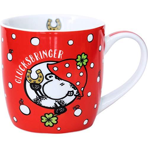 Sheepworld 45731 Kaffee-Tasse Glücksbringer, Porzellan, 40 cl, mit Geschenk-Banderole, Rot