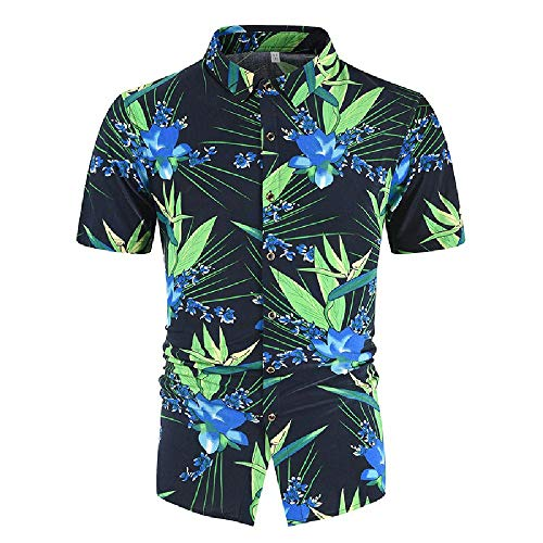 U/A Summer New Men's Casual 3D Printed Shirt Short Sleeve Shirt Green