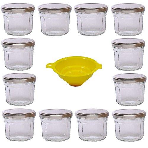 12 runde Sturzgläser Marmeladengläser in Facetten-Optik mit silbernem Deckel 240ml inkl. einem gelben Einfülltrichter