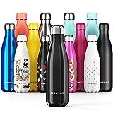 Proworks Bottiglia Acqua in Acciaio Inox, Senza BPA Vuoto Isolato Borraccia Termica in Metallo per Bevande Calde per 12 Ore & Fredde 24 Ore, Borraccia per Sport, Lavoro e Palestra - 1 Litre - Nero