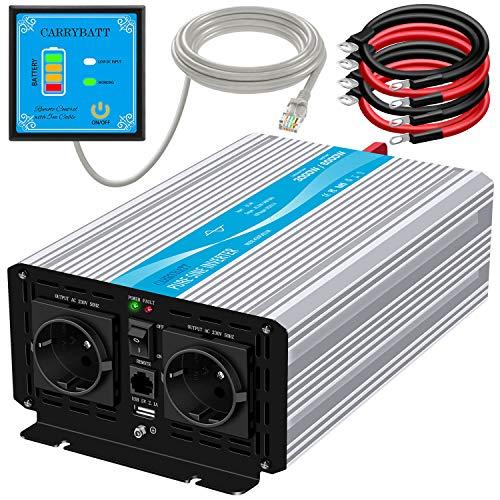 CARRYBATT Wechselrichter 3000W Reiner Sinus Spannungswandler 24V auf 230V mit 5 Meter Fernbedienung mit Dual-AC-Ausgängen & 2.1A USB-Anschluss wechselrichter mit vorrangschaltung