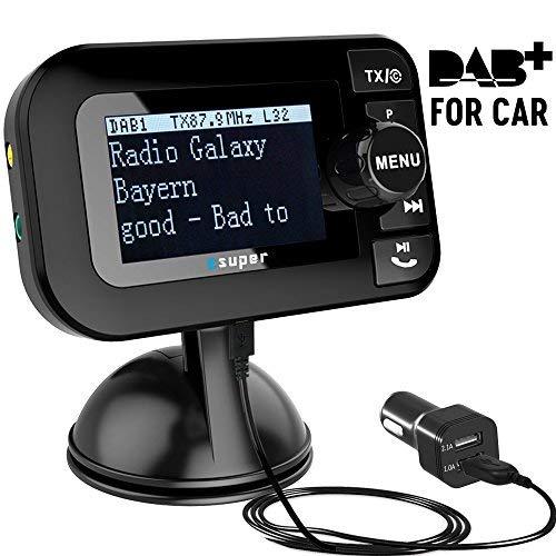 [PLUG & PLAY] DAB Adapter für Autoradio , DAB Transmitter Tragbar DAB+ Digitales Radio Adapter mit Bluetooth FM Transmitter +Aux-in/out+USB KFZ Ladegerät+TF Musik spielen+Freisprechanruf+2.3