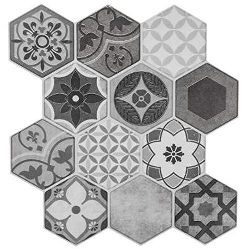 Paris Prix Stick'N Look - Lot de 2 Stickers Carrelage à Motifs Hexa 24x24cm Gris