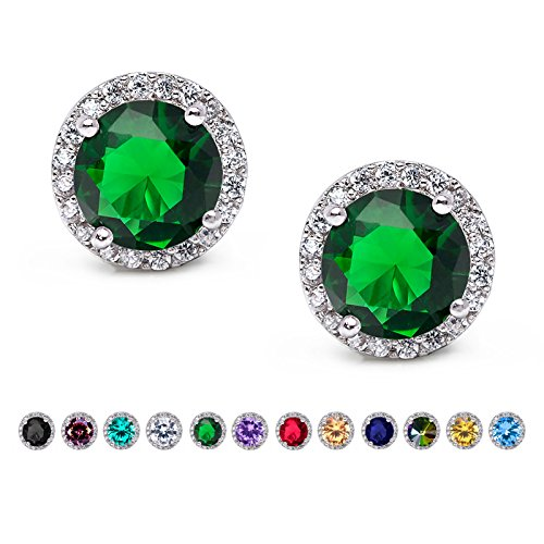 SWEETV Cubic Zirconia Stud Earrings, 10mm Round Cut, Rhinestone Hypoallergenic Earrings for Women & Girls, Emerald