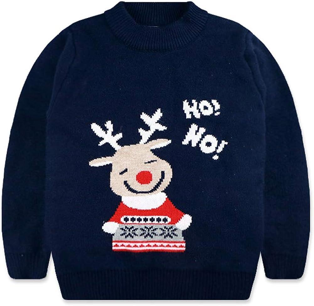 taitaibaby Kids Toddler Boys Girls Warm Sweater Cartton Deer Crewneck Long Sleeve Pullover Sweatshirt Winter Tops,2-9Y