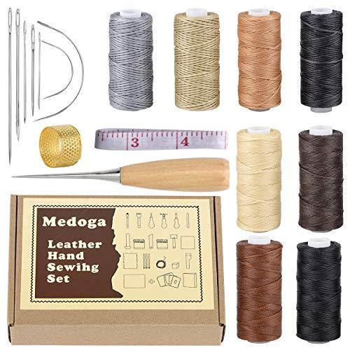 18 hilos encerados con agujas de coser a mano y dedal de perforación 150D 1 mm cuerda de costura a mano para manualidades de cuero (18 kits de costura de cuero)