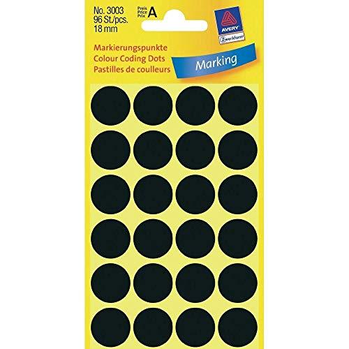 Markierungspunkte, farbig, 18mm ø, 96 Stück Etiketten je Packung, schwarz