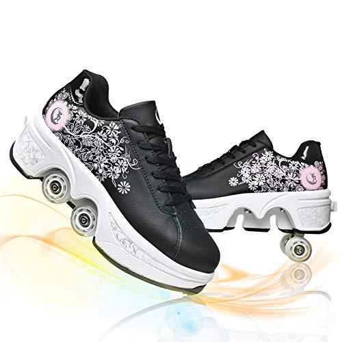 Pattini A Rotelle Scarpe da Skate per Donna Uomo Ragazzi Scarpe per Scarpe da Ginnastica A Rotelle Retrattile 4 Ruote Skateboard Sneakers,Black Pink,EU 35(US 5.5)